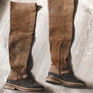Free people distressed over the knee boots
